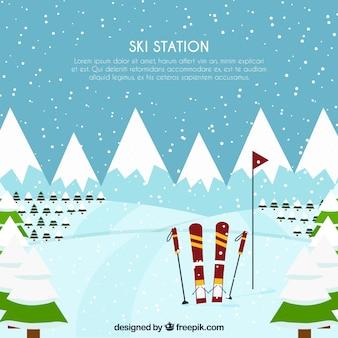 Дизайн лыжного курорта со снегом