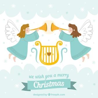 Рождественский фон с двумя ангелами, играющими музыку