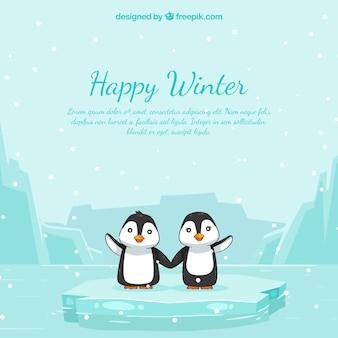 ペンギンと幸せな冬の背景