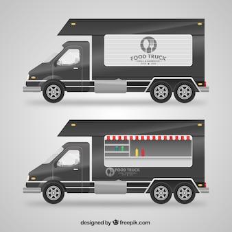 グレーの食品トラック