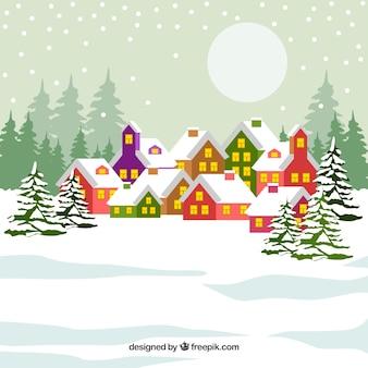 Зима в красочной деревне