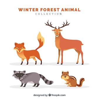 フラットな冬の動物コレクション