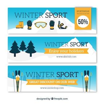 Зимние рекламные баннеры со спортивными элементами