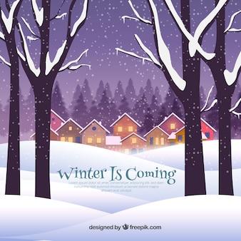 冬は町に来ています