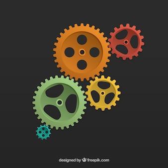 Цветном фоне зубчатых колес