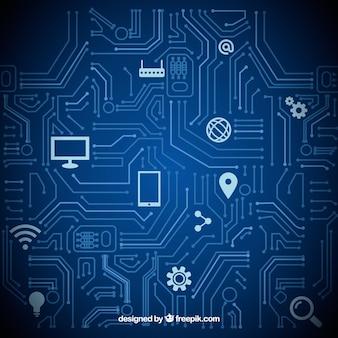 Значки компьютеров технология фон векторный набор