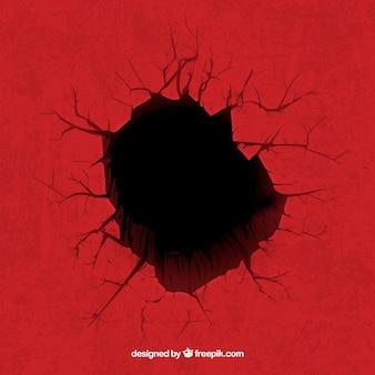 赤い背景に穴
