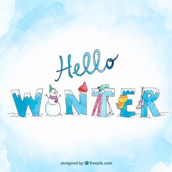 Рисованный фон привет зимой с творческими буквами