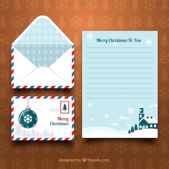 青いクリスマスレターテンプレート
