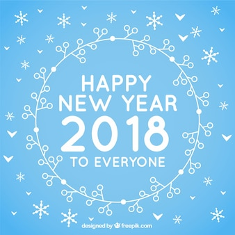 誰もが青い平らな背景幸せな新年