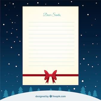 Рождественский шаблон письма с лентой