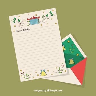 Рождественский шаблон письма с листьями