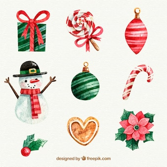美しい装飾的なクリスマスの要素のセット