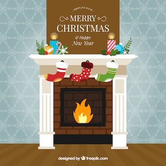 美しく装飾された暖炉