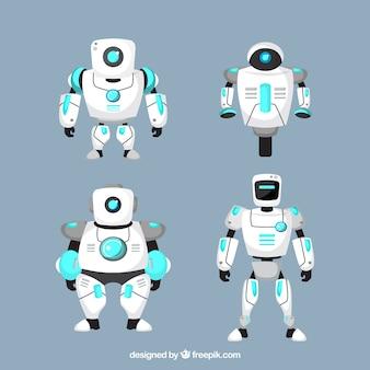 フラットデザインのロボットキャラクターコレクション