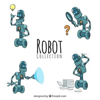 Коллекция рисованных роботов с разными позами