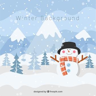 雪だるまを持つ冬の背景