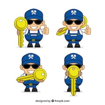 フラットデザインの鍵屋のキャラクター