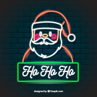 ネオンのクリスマスの背景ホホホ、サンタと