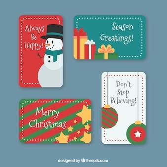 Рождественские наклейки, установленные в плоском дизайне