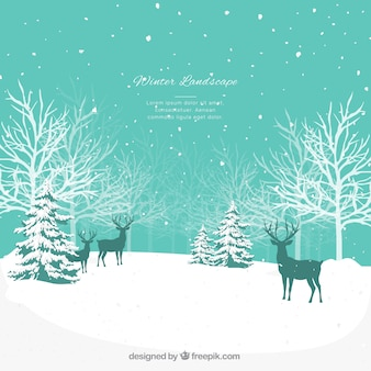 Синий зимний пейзаж с оленями