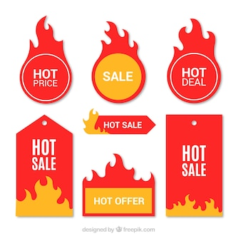 Плоская проектная этикетка огня / коллекция значков