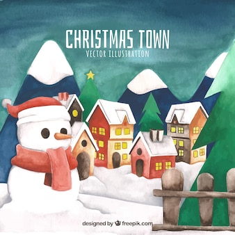 Пейзаж рождественского города с снеговиком