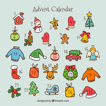 手描きのクリスマスの要素とアドベントカレンダー