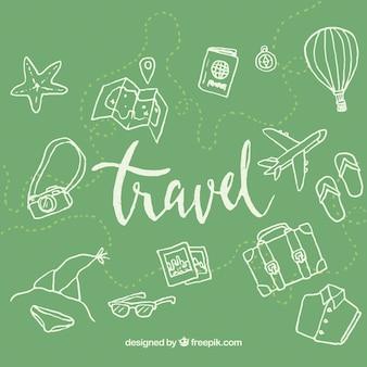 Зеленый фон элементов путешествия