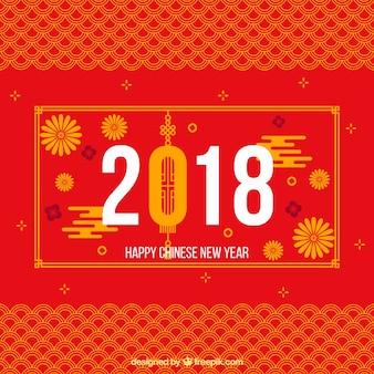 赤とオレンジの中国の新年のデザイン