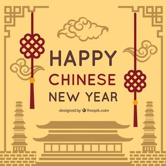 茶色の中国の新年のデザイン
