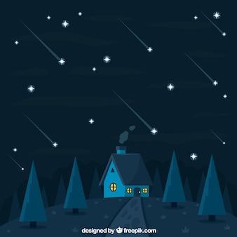 Звездный след фон с домом и деревьями