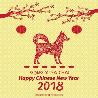 中年の犬と中国の新年のコンセプト