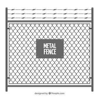 有刺鉄線のある金属フェンス