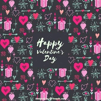 小さいハートやギフトボックスが付いた水彩のバレンタインデーの背景