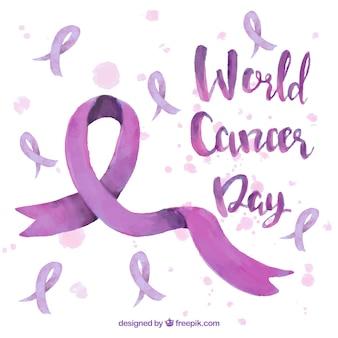 世界の癌の日のための紫の水彩画のデザイン