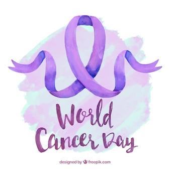紫色のリボンで世界の癌の日のための水彩画のデザイン