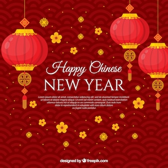 ランタンと中国の新年の背景
