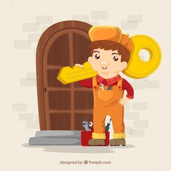 手描きの鍵屋のキャラクター