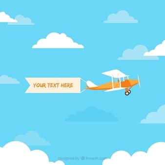 Ретро самолет, летевший с баннера вектор