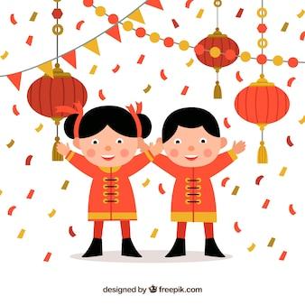 かわいい中国の幸せな新年の背景