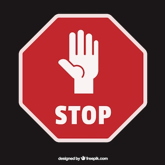 一時停止の標識のようなオープン手のひら手のシルエット