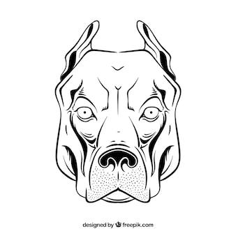 ピットブルの頭の描画アイコンベクトル