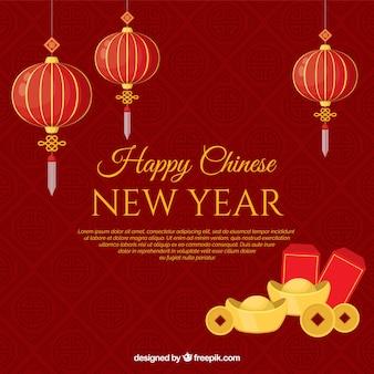 中国の新年のための赤い創造的なデザイン