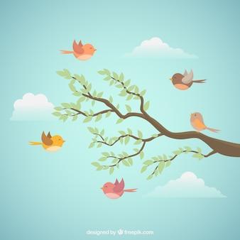 Фон летающих птиц с веткой