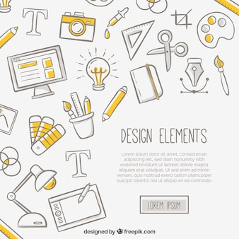 デザイン要素を持つ白い背景