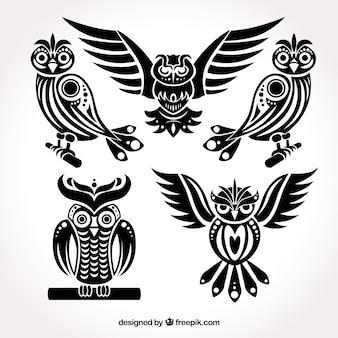 フクロウの黒いコレクション
