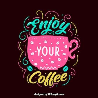 ピンクのコーヒーデザインとレタリング