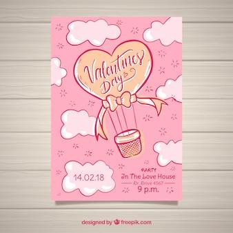 手描きのバレンタインデーのチラシとポスターテンプレート