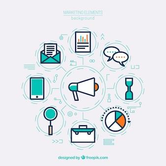 クリエイティブなマーケティング要素の背景